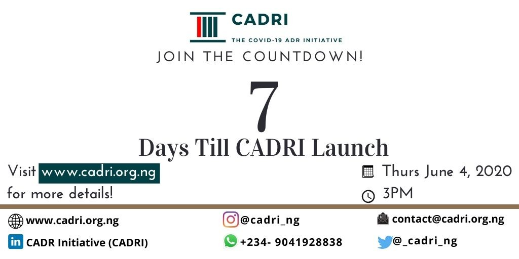 The launch event of the CADRI (COVID-19 ADR Initiative)                                 7days to go!